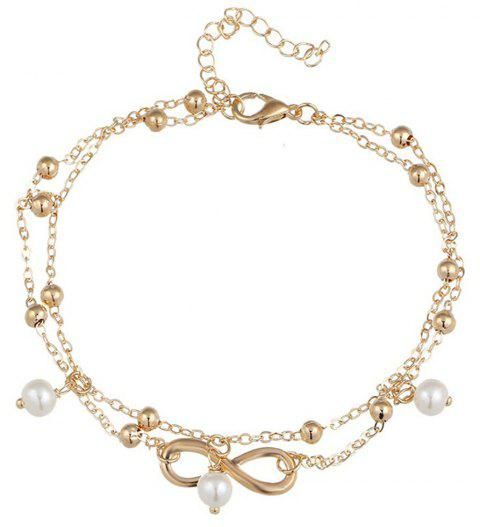 Fashion Lady Lucky Number 8 Pendant Jewelry Anklets - GOLDEN