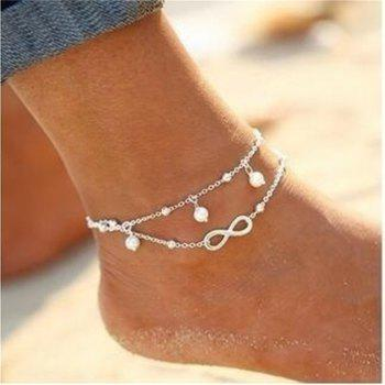 Fashion Lady Lucky Number 8 Pendant Jewelry Anklets - SILVER