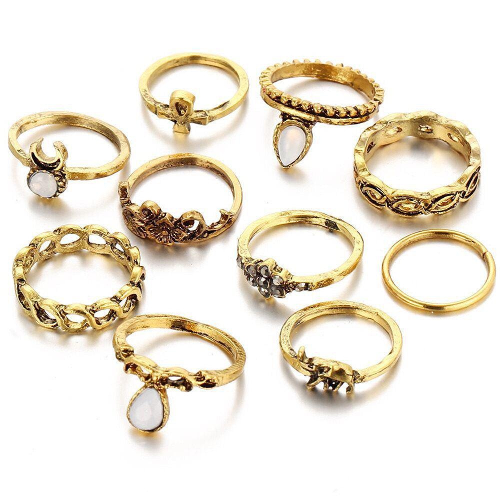 10 Pieces of Ancient Twist and Carved Flower Elephant Ring - BRONZED ONE-SIZE