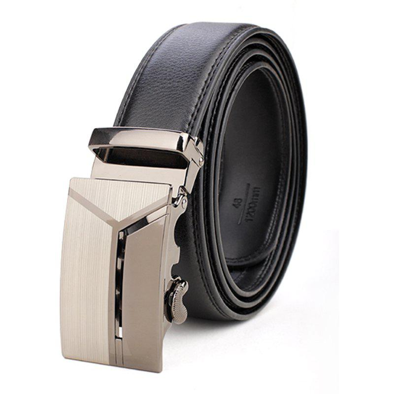 Men's Business Casual Button Leather Belt - BLACK