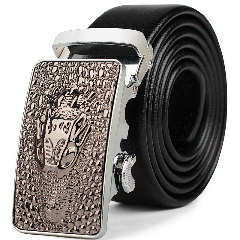 Men's Business Casual Wear Leather Belt - SILVER
