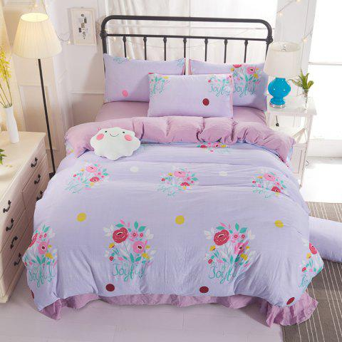 4PCS Cotton Floral Bedding Set - PINK QUEEN