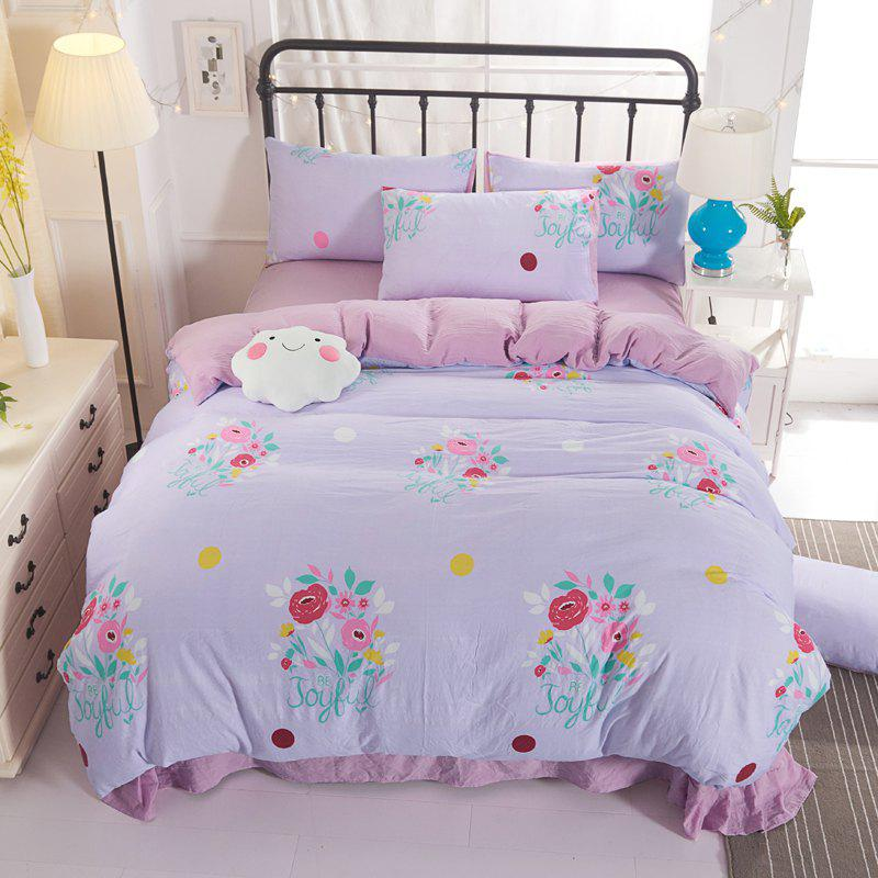 4PCS Cotton Floral Bedding Set - PINK FULL