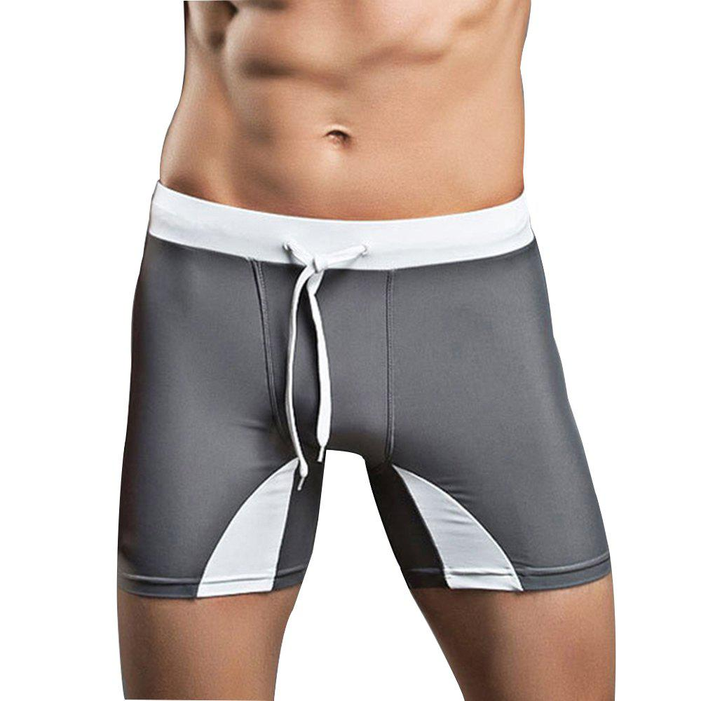 Men's Professional Tethered Swimming Trunks Beach Shorts - GRAY M