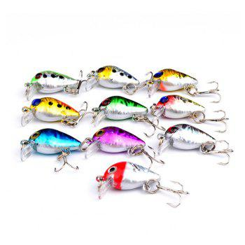 10 PCS Mini Fishing Lures 10 Colors Fishing Bait 2.6CM / 1.6G Fishing Tackle 10 High Carbon Steel Treble Hook - COLORMIX