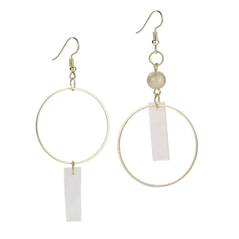 Fashion Geometric Round Circle Shell Drop Earrings - GOLDEN