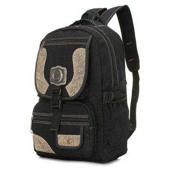 Men's Personality Rivet Outdoor Mountaineering Bag Large Capacity Multi-function Travel Bags - BLACK