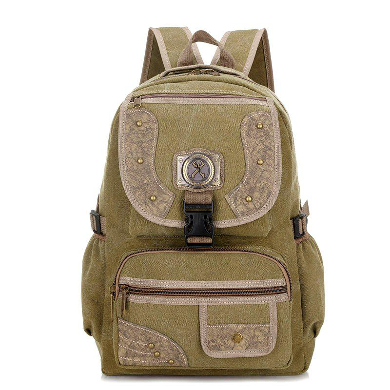 Men's Personality Rivet Outdoor Mountaineering Bag Large Capacity Multi-function Travel Bags - KHAKI