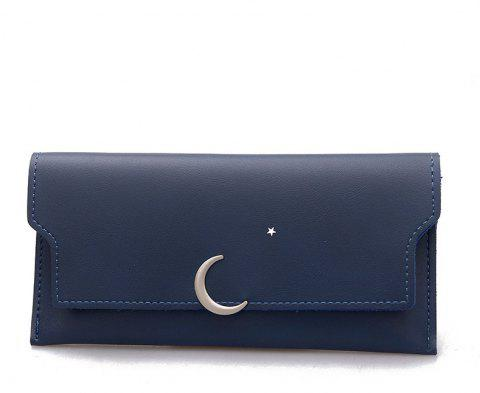 Women's New PU Wallet Coin Purse Fashion Star Crescent Clasp Clutch - BLUE