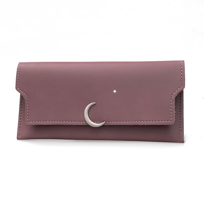 Women's New PU Wallet Coin Purse Fashion Star Crescent Clasp Clutch - RUSSET RED