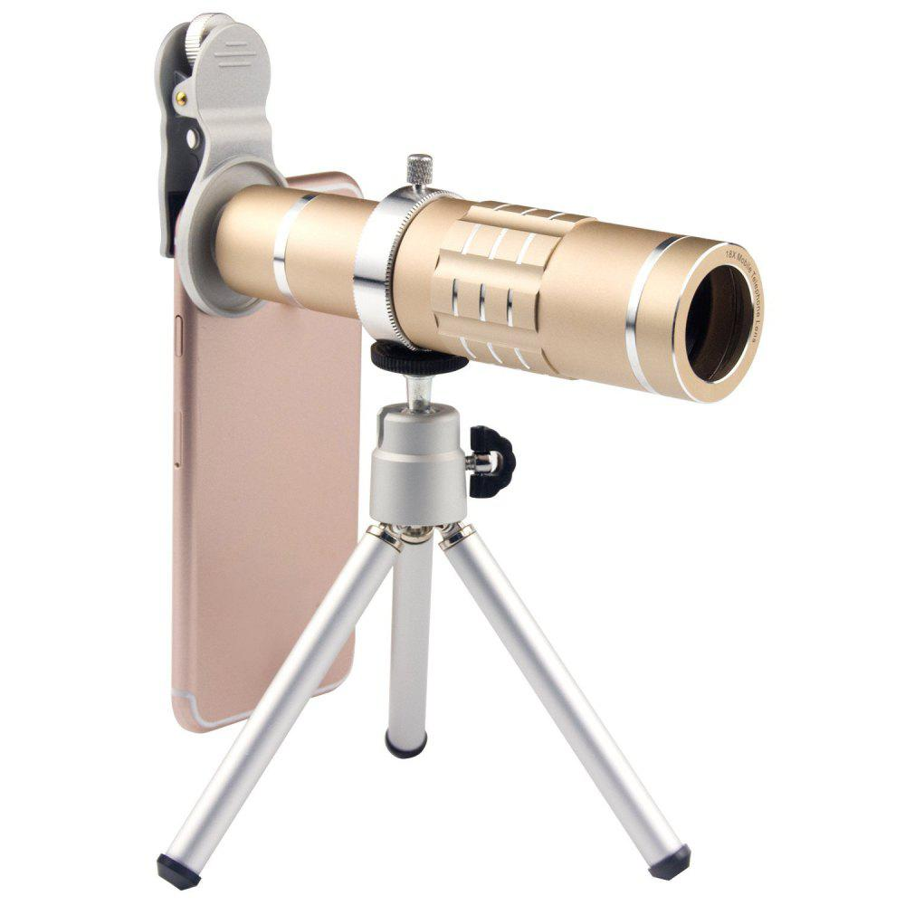 18X Telephoto Lens Aluminum Telephoto Manual Focus Telescopic Optical Len with Clip and Tripod golden - GOLDEN