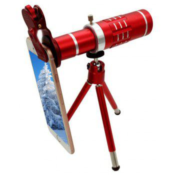 18X Telephoto Lens,Aluminum Telephoto Manual Focus Telescopic Optical Len with Clip and Tripod Red - RED