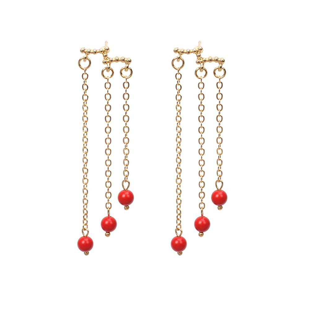 Candy Pearl Long Bohemia Ethnic Characteristics Tassel Beads Elegant Earrings - GOLD/RED