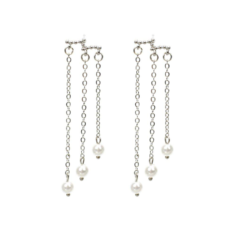 Candy Pearl Long Bohemia Ethnic Characteristics Tassel Beads Elegant Earrings - SILVER/WHITE