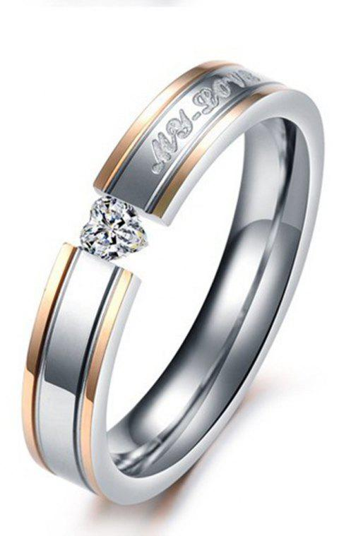 Female Classic Jewelry Couple Diamond Titanium Steel Tail  Ring - SILVER 7