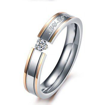 Female Classic Jewelry Couple Diamond Titanium Steel Tail Love Ring - SILVER 9