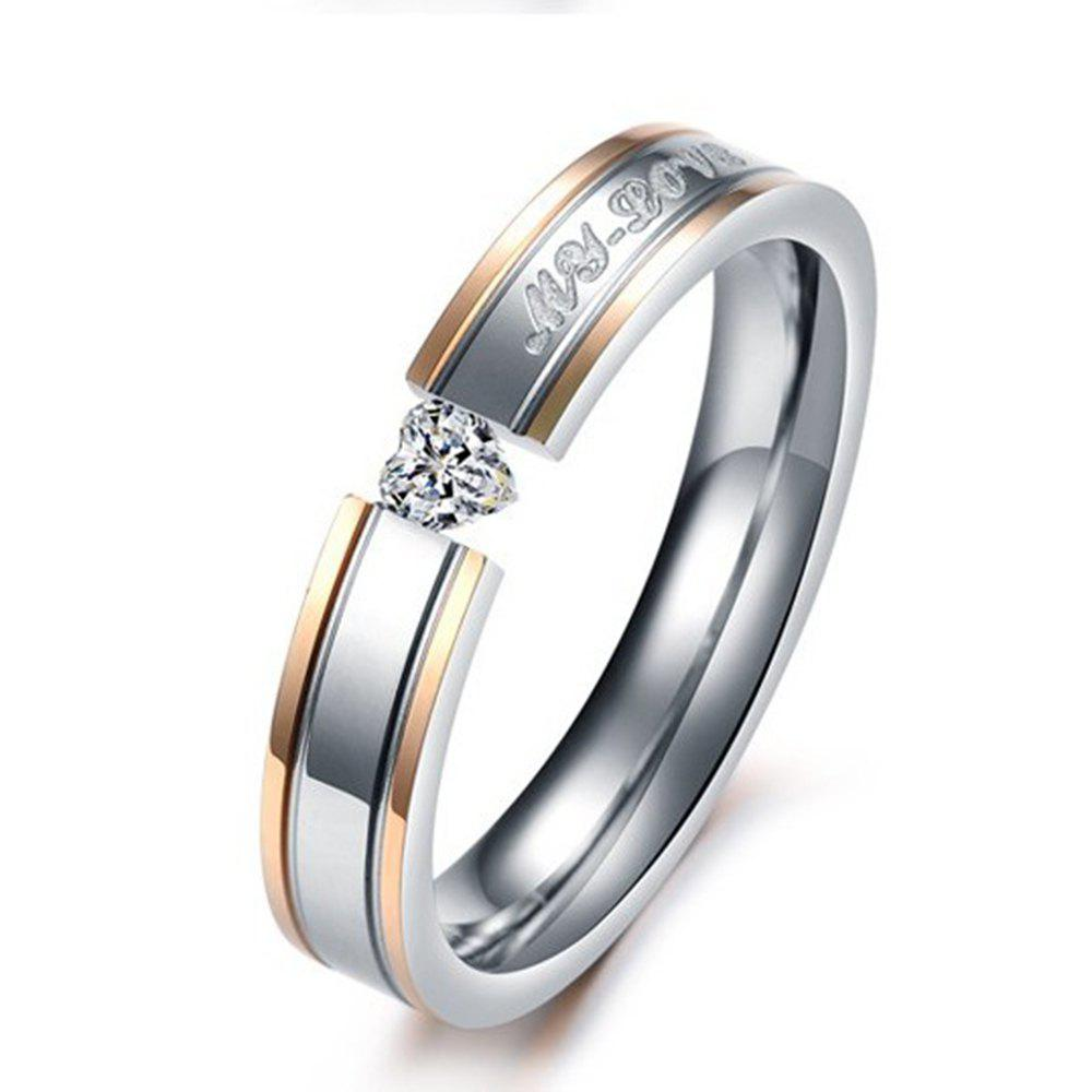 Female Classic Jewelry Couple Diamond Titanium Steel Tail Love Ring - SILVER 6