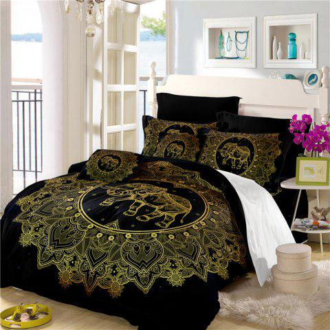 Elephant Totem Series Three Pieces and Four Pieces Bedding Set of AS23 - BLACK GOLD FULL