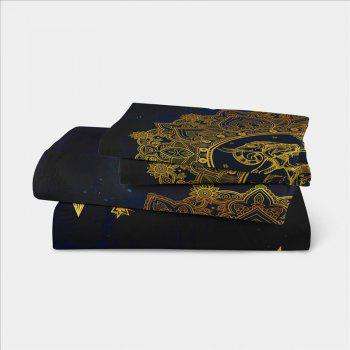 Elephant Totem Series Three Pieces and Four Pieces Bedding Set of AS23 - BLACK GOLD EURO KING