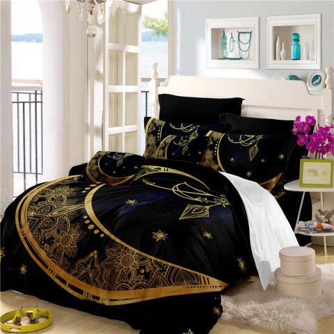 Constellation Totem Series of Three or Four Pieces Bedding Set AS24 - BLACK GOLD CALIFORNIA KING