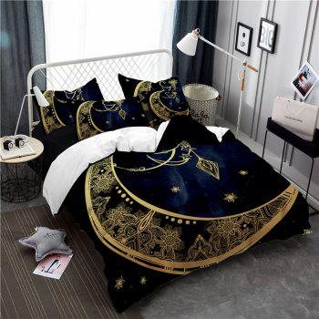 Constellation Totem Series of Three or Four Pieces Bedding Set AS24 - BLACK GOLD EURO KING