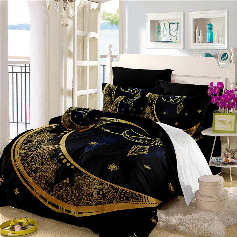 Constellation Totem Series of Three or Four Pieces Bedding Set AS24 - BLACK GOLD QUEEN