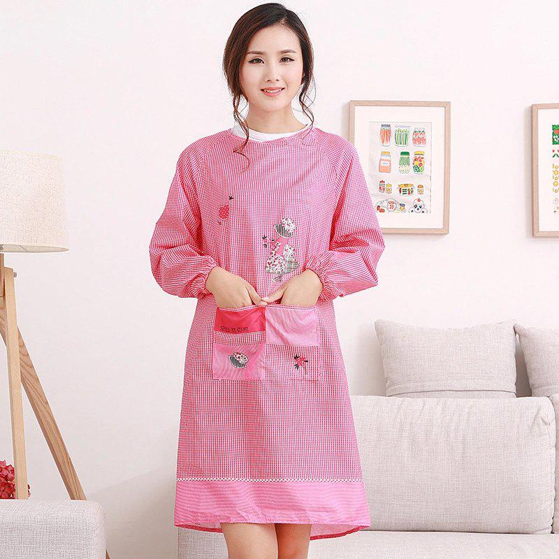 Creative Kitchen  Korean Long Sleeved Smock Dress Home Furnishing Apron - RED