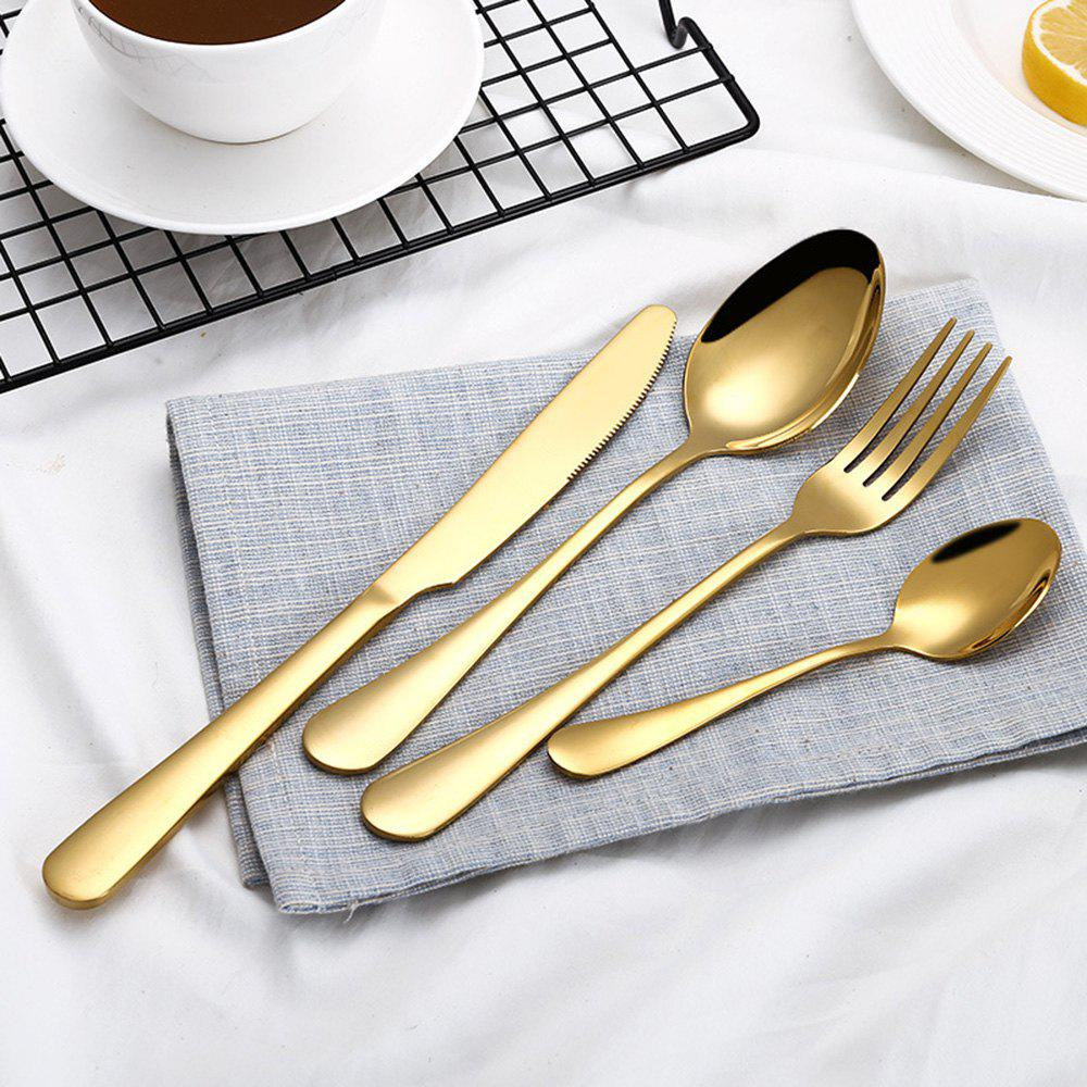 Rainbow Dinnerware Wedding Travel Cutlery Set Stainless Steel Dinner Knife Fork Scoops Silver Tableware - GOLDEN