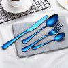 Rainbow Dinnerware Wedding Travel Cutlery Set Stainless Steel Dinner Knife Fork Scoops Silver Tableware - BLACK