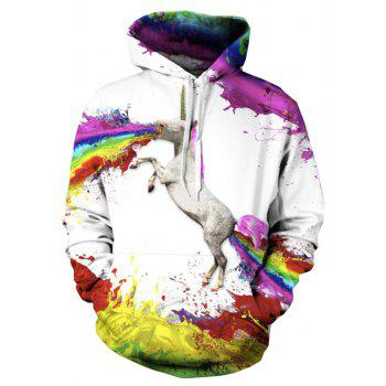 Fashion Happy Unicorn Spew Hoodie for Women - COLOUR S