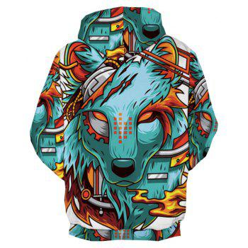 Women Sport Style 3D Wolf Demon Printed Pensonality Hip Hop Hoodie - COLOUR M