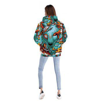 Women Sport Style 3D Wolf Demon Printed Pensonality Hip Hop Hoodie - COLOUR 2XL