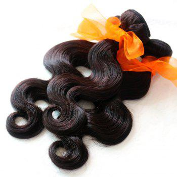 Body Wave 100 Percent Natural Color Indian Virgin Hair Weave 2pcs - NATURAL COLOR 16INCH*16INCH