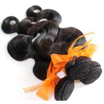 Body Wave 100 Percent Natural Color Indian Virgin Hair Weave 2pcs - NATURAL COLOR 20INCH*20INCH
