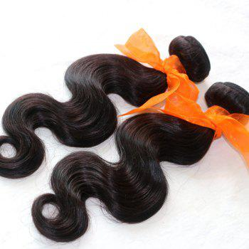 Body Wave 100 Percent Natural Color Indian Virgin Hair Weave 2pcs - NATURAL COLOR 22INCH*24INCH