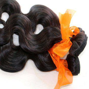 Body Wave 100 Percent Natural Color Indian Virgin Hair Weave 2pcs - NATURAL COLOR 24INCH*24INCH