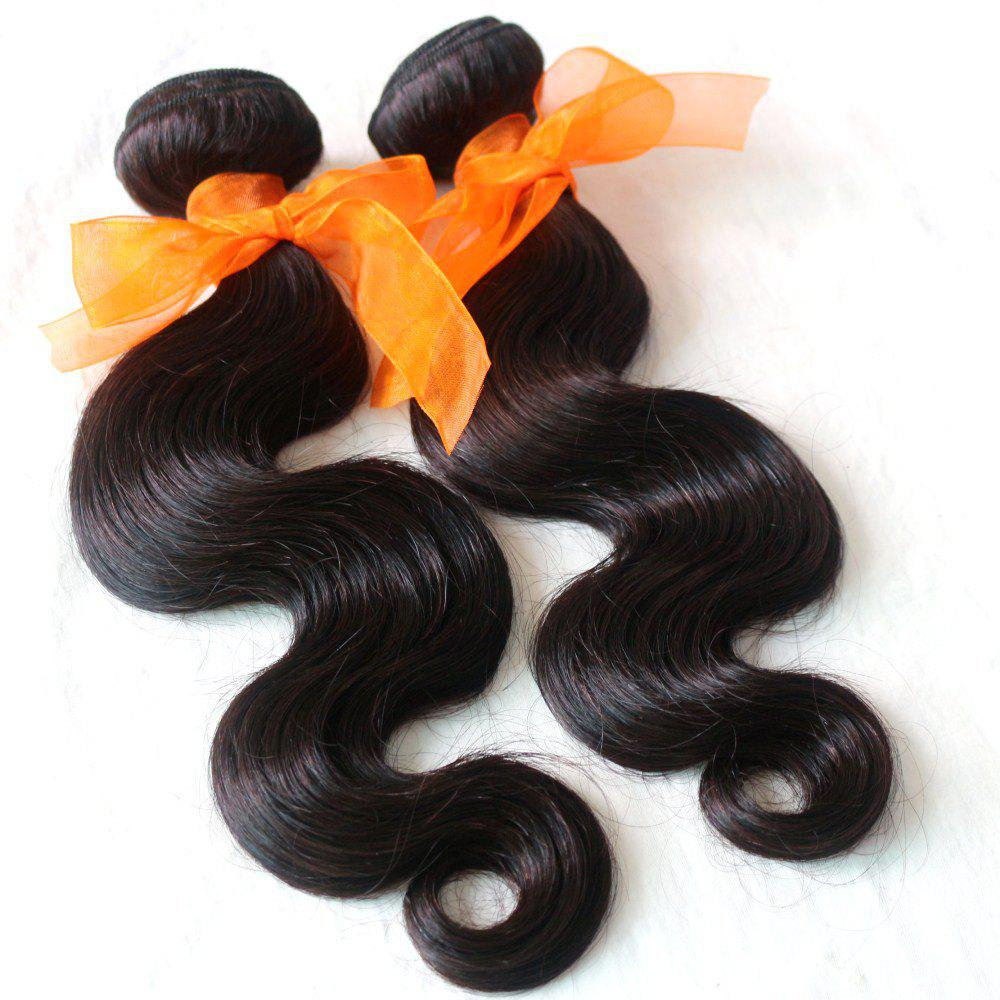 Body Wave 100 Percent Natural Color Indian Virgin Hair Weave 2pcs - NATURAL COLOR 22INCH*22INCH