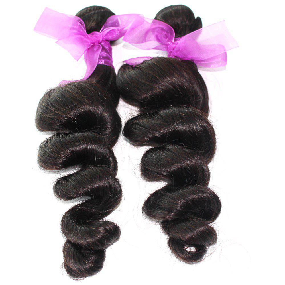 Loose Wave Natural Color Peruvian Human Virgin Hair Weave 2pcs - NATURAL COLOR 18INCH*18INCH