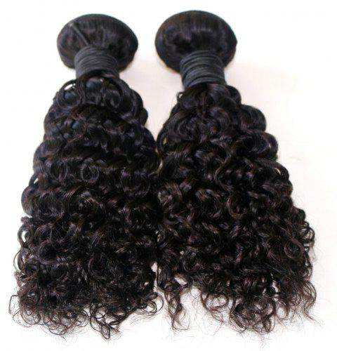 Jerry Curly Natural Color 100 Percent Brazilian Virgin Hair Weave 2pcs - NATURAL COLOR 16INCH*18INCH
