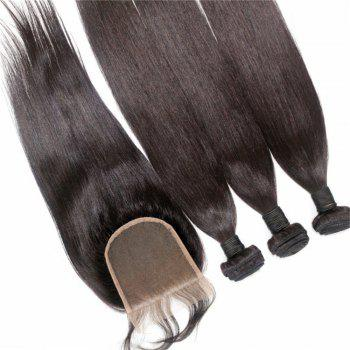 Silky Straight Natural Color Brazilian Human Virgin Hair Weave 3pcs with One Piece Lace Closure - NATURAL COLOR 18INCH*18INCH*18INCH*CLOSURE 16INCH