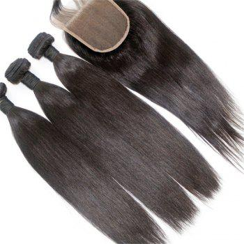 Silky Straight Natural Color Brazilian Human Virgin Hair Weave 3pcs with One Piece Lace Closure - NATURAL COLOR 20INCH*22INCH*24INCH*CLOSURE 18INCH