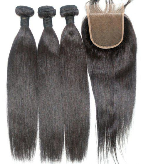 Silky Straight Natural Color 100 Percent Brazilian Virgin Hair Weave 4pcs with One Piece Lace Closure - NATURAL COLOR 18INCH*20INCH*22INCH*24INCH*CLOSURE 16INCH
