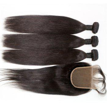Silky Straight Natural Color 100 Percent Brazilian Virgin Hair Weave 4pcs with One Piece Lace Closure - NATURAL COLOR 14INCH*16INCH*18INCH*20INCH*CLOSURE 14INCH