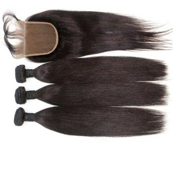 Silky Straight Natural Color 100 Percent Brazilian Virgin Hair Weave 4pcs with One Piece Lace Closure - NATURAL COLOR 16INCH*18INCH*20INCH*22INCH*CLOSURE 14INCH