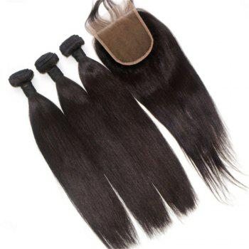 Silky Straight Natural Color 100 Percent Brazilian Virgin Hair Weave 4pcs with One Piece Lace Closure - NATURAL COLOR 18INCH*20INCH*22INCH*24INCH*CLOSURE 18INCH