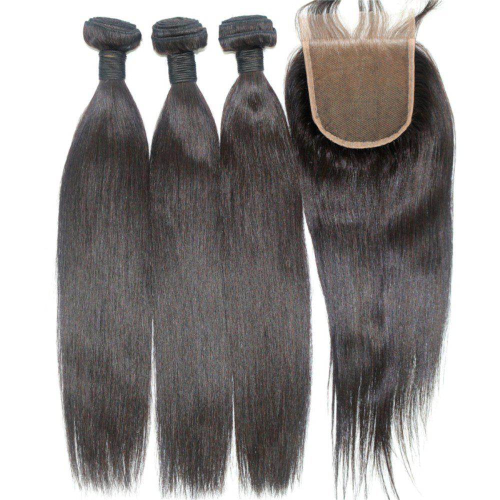 Silky Straight Natural Color 100 Percent Brazilian Virgin Hair Weave 4pcs with One Piece Lace Closure - NATURAL COLOR 16INCH*18INCH*20INCH*22INCH*CLOSURE 16INCH