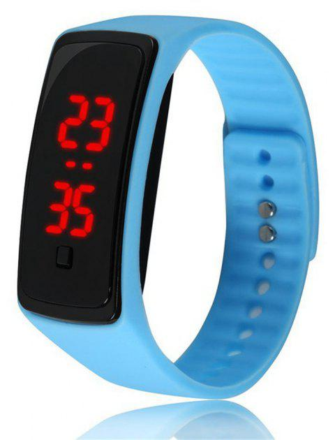 Montre-bracelet de silicone d'enfants de montre de Digital de la mode V5 LED - Bleu ciel