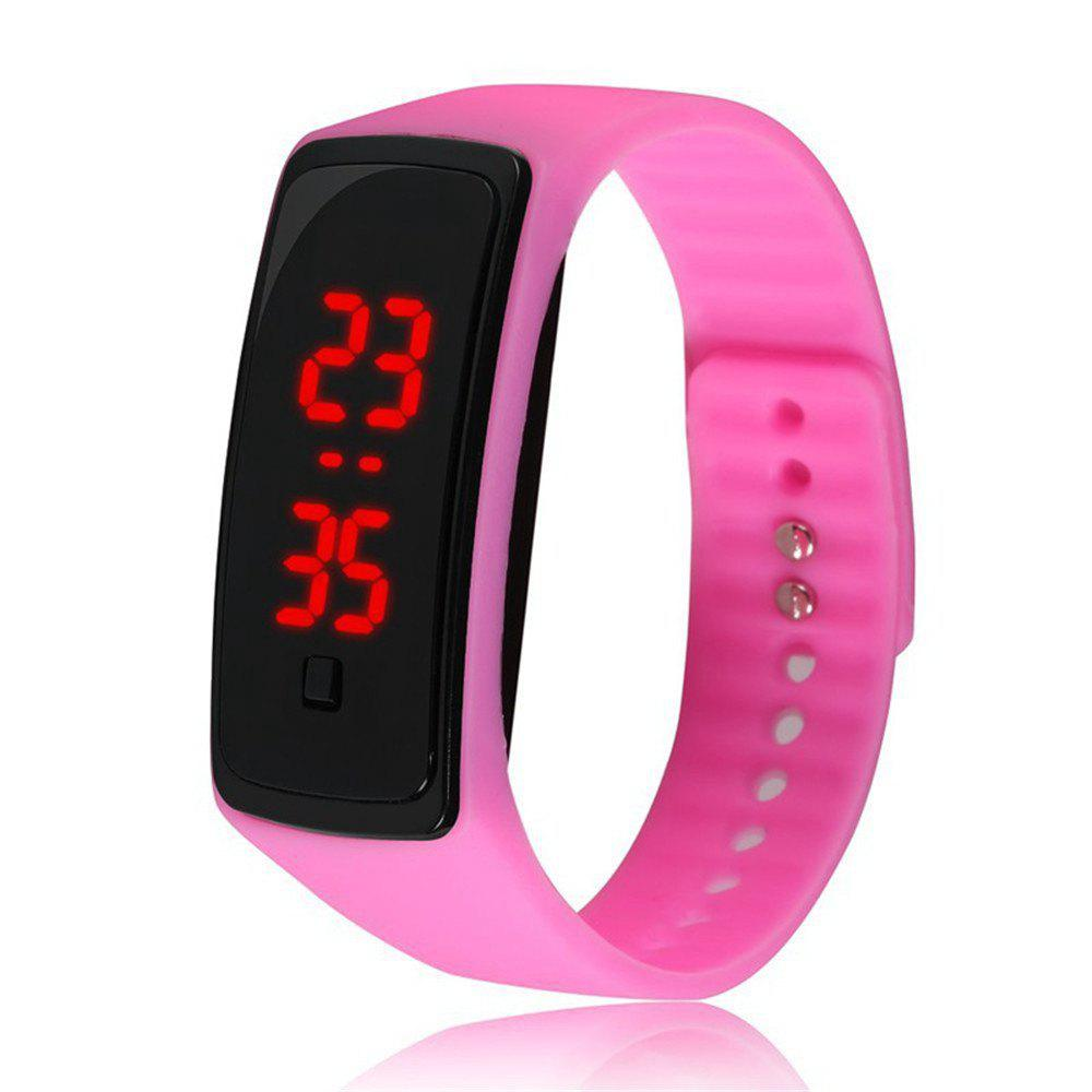 V5 Fashion LED Digital Watch Children Silicone Wristwatch - PINK