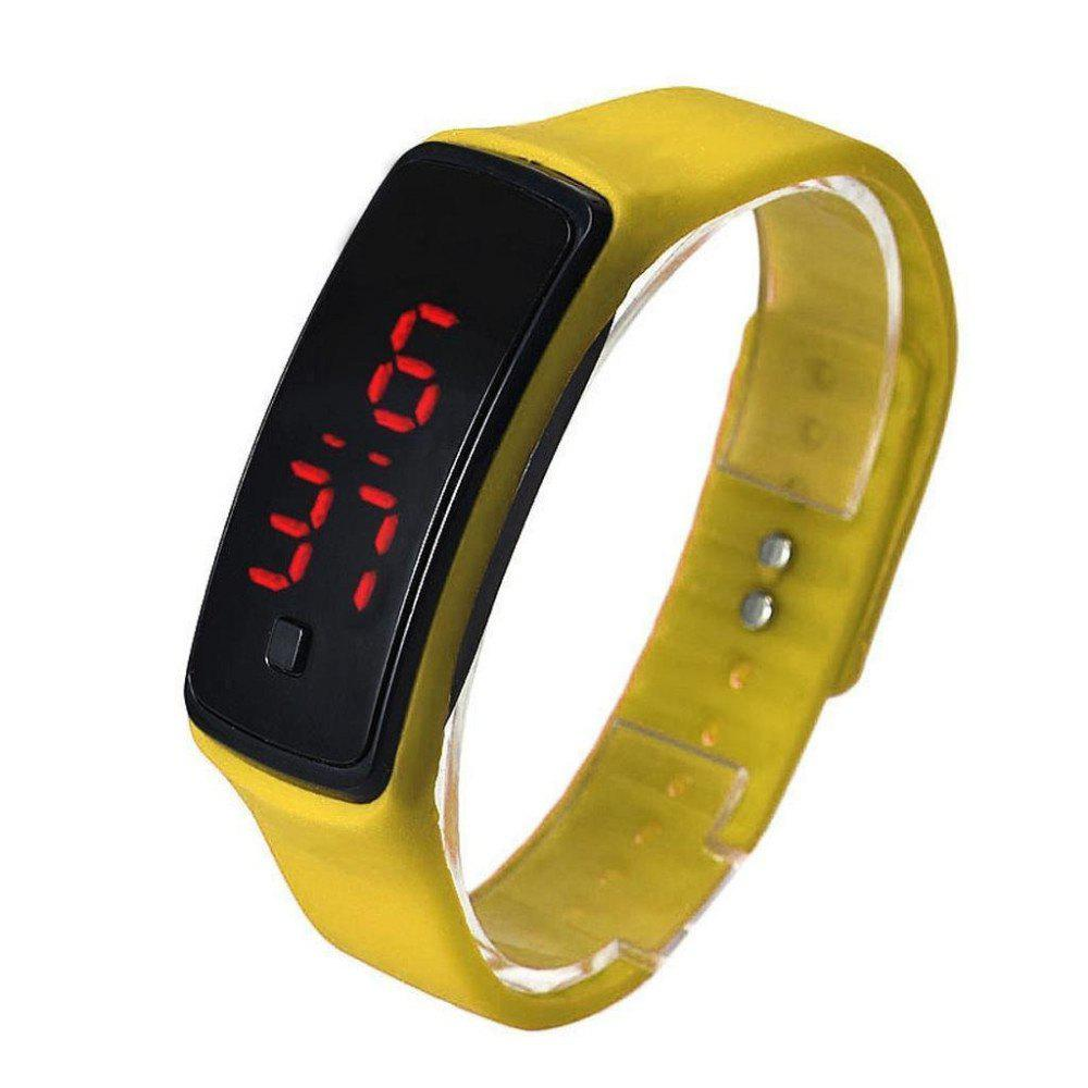 V5 Fashion LED Digital Watch Children Silicone Wristwatch - YELLOW