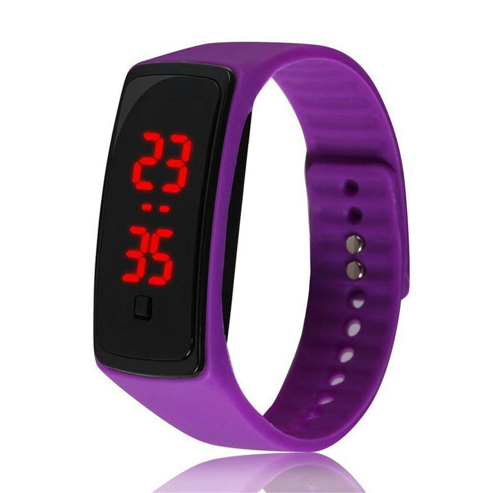 Montre-bracelet de silicone d'enfants de montre de Digital de la mode V5 LED - Pourpre